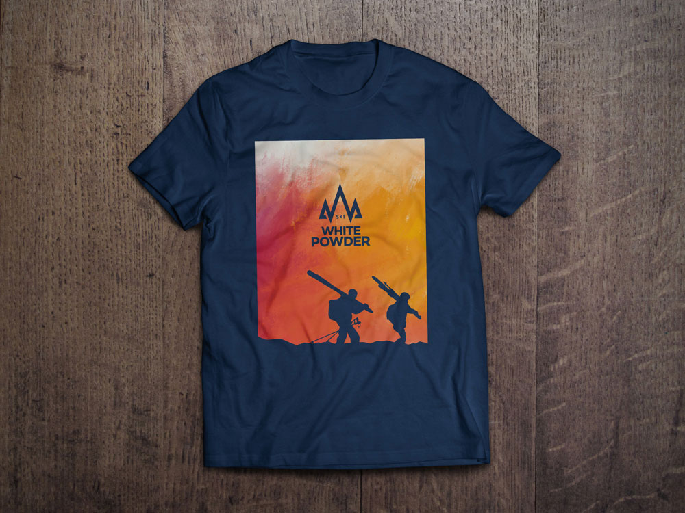 Ski White Powder Navy T-Shirt Design