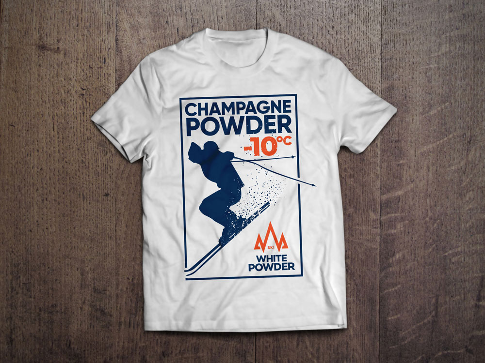 Ski White Powder White T-Shirt Design