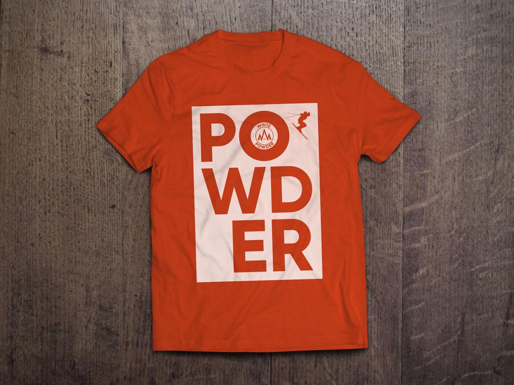 Ski White Powder Orange T-Shirt Design